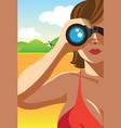 through the binocular vector image vector image