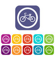 travel by bicycle is prohibited traffic sign icons vector image vector image