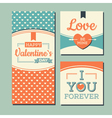Vintage Happy valentines day and weeding cards vector image