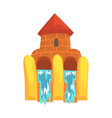 water slides in the form of a castle aquapark vector image vector image
