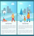 wintertime city activities vector image vector image