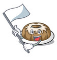 with flag bundt cake mascot cartoon vector image vector image