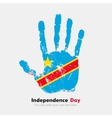 Handprint with the Flag of Democratic Republic vector image
