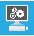 Computer Display and Gear Icon vector image