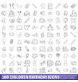 100 children birthday icons set outline style vector image