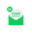 34 years anniversary icon in green open letter vector image vector image