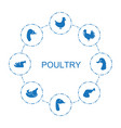 8 poultry icons vector image vector image