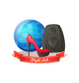 accessory sound box mirror ball high heel vector image