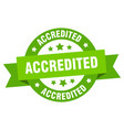 accredited ribbon accredited round green sign vector image vector image