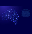 australia map of polygonal mosaic lines rays vector image vector image