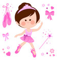 beautiful pink ballerina girl vector image vector image