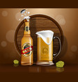 beer bottle and mug wooden barrel land hop vector image