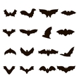 Big set of black silhouettes bats vector image