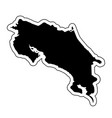 black silhouette of the country costa rica with vector image