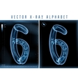 blue 3D x ray style alphabet for vector image vector image