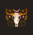 boho bull skull art print a set of mystical vector image vector image