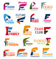 business icons letter f corporate identity vector image vector image