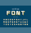 cartoon font and alphabet line square typeface vector image