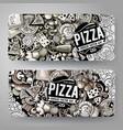 cartoon graphics hand drawn doodles pizza vector image