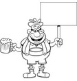 cartoon man holding a beer and a sign vector image vector image