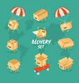 cheerful set delivery boxes graphics vector image