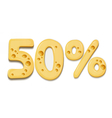 Cheese sale numbers banner vector image vector image