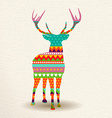 Christmas deer in colorful geometric art style vector image vector image
