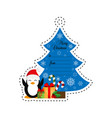 christmas tree and penguin with gifts gift tag vector image
