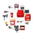 cinema icons set in cartoon style vector image vector image