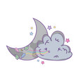 cloud and moon cartoon vector image vector image