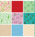 colorful backgrounds - floral seamless patterns vector image