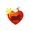 cute piggy in heart black icon love symbol vector image vector image