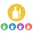 cutting board and knife colored round icons vector image