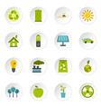 ecology icons set flat style vector image vector image