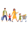 family on shopping grocery store woman man vector image