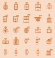 Fintech line color icons on orange background vector image vector image