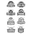 fishing tournament and fishery gear icons vector image