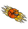 flying basketball ball vector image vector image