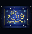golden lettering and frame happy new year 2019 vector image vector image