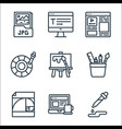 graphic design line icons linear set quality line vector image vector image