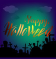 halloween square banner with graves and dark cloud vector image