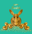 happy easter greeting card with gold eggs and vector image