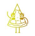 line kawaii cute happy pizza fastfood vector image vector image