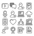 media and blog icons set on white background vector image vector image
