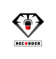 microphone recorder with diamond icon design vector image vector image