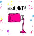 nail polish spill hand drawn poster vector image vector image
