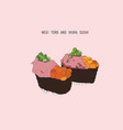 negi toro and ikura sushi japanese food sketch vector image vector image