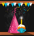 party hat decorative and cupcake with candle vector image vector image