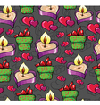 pattern with a candle and hearts vector image vector image