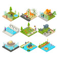 public zoo set concept 3d isometric view vector image vector image